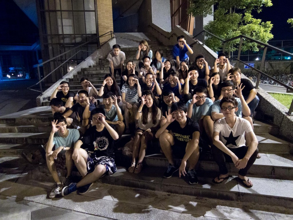Taiwanese coworkers and American team counselors spend quality time together the night before the typhoon hit.